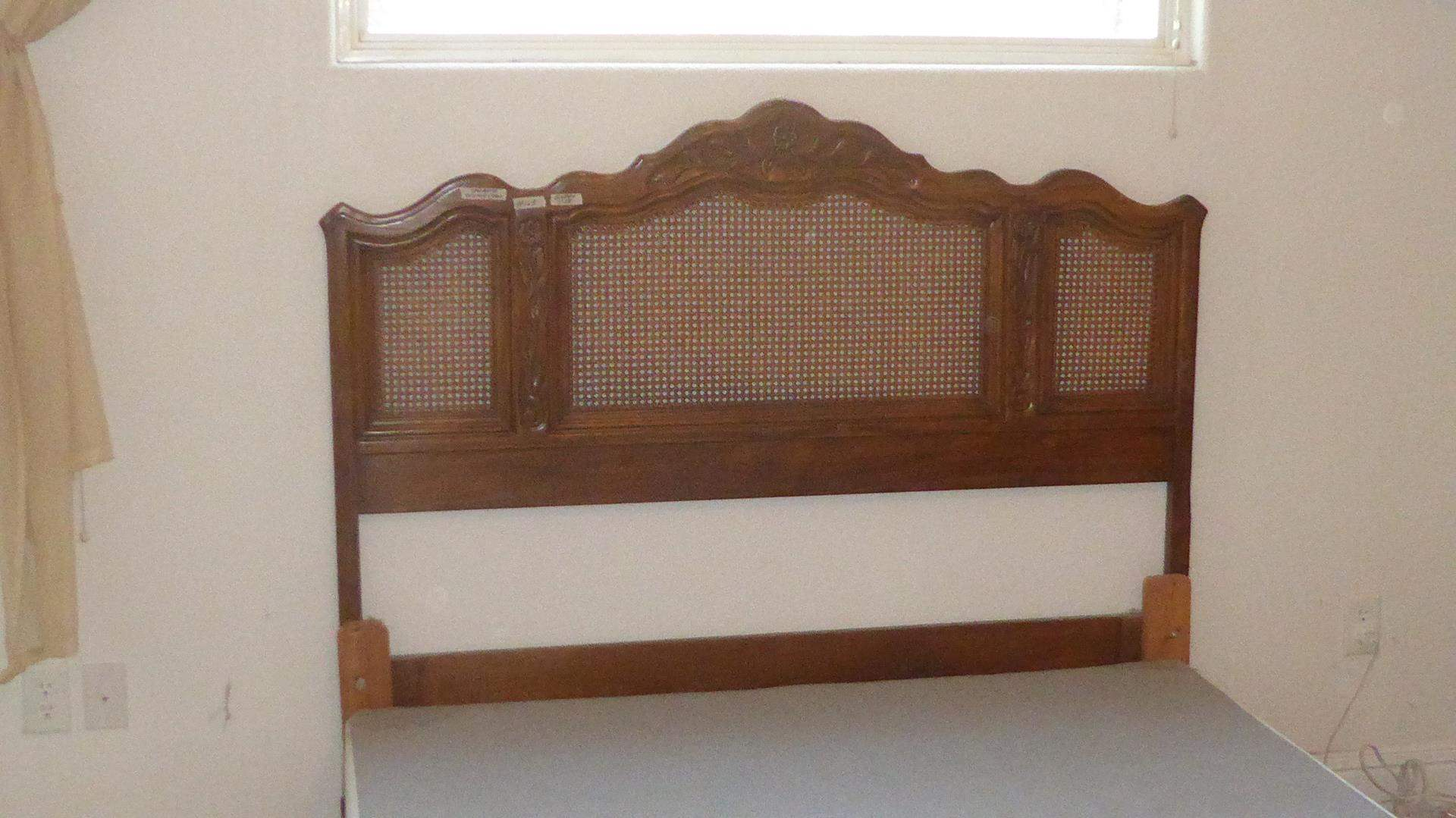 Lot # 169 - Vintage 'Drexel Heritage' Cabernet Classic Queen Size Cane Back Headboard & Box Spring (main image)