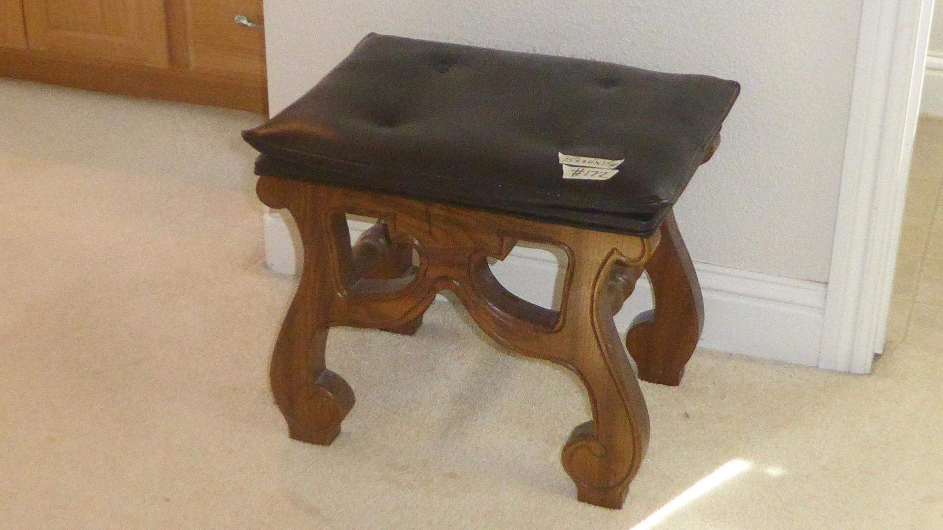 Lot # 172 - Vintage 'Stanley Furniture Co.' Small Wood Framed Bench (main image)