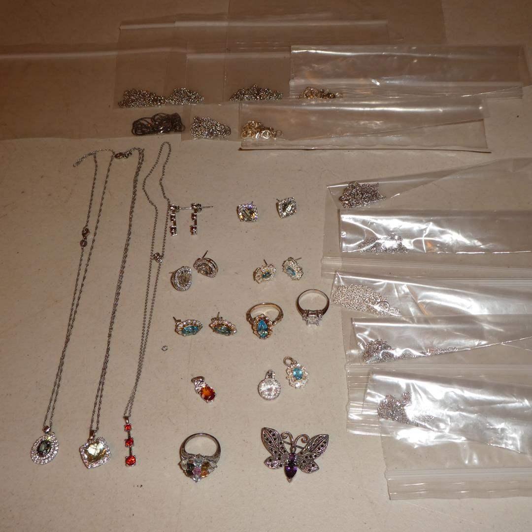 Lot # 138 - Sterling Silver w/Jewels Pendants, Rings, Earrings & Chains (main image)