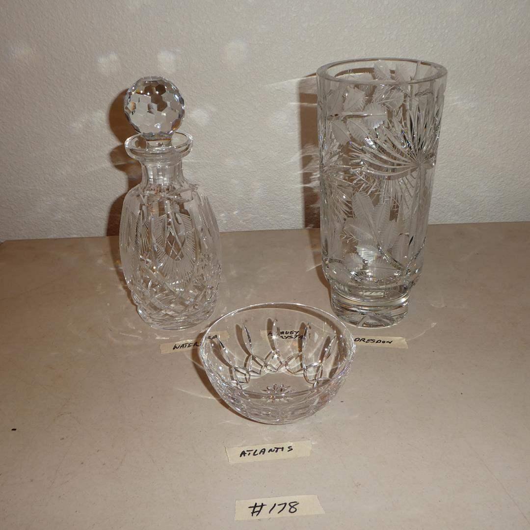 Lot # 178 - Vintage 'Atlantis' Crystal Bowl, 'Waterford' Crystal Decanter & 'Dresden Crystal Vase (main image)