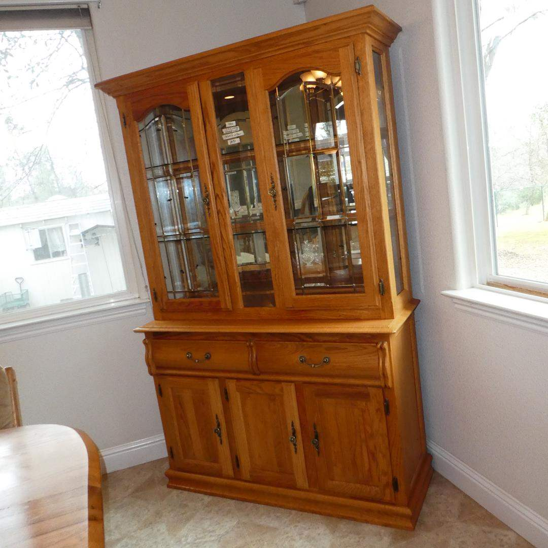 Lot # 181 - Lighted 2-Piece Solid Oak 'Bent Wood Original' China Cabinet Hutch w/Leaded Beveled Glass Doors & Dovetailed Drawers (main image)