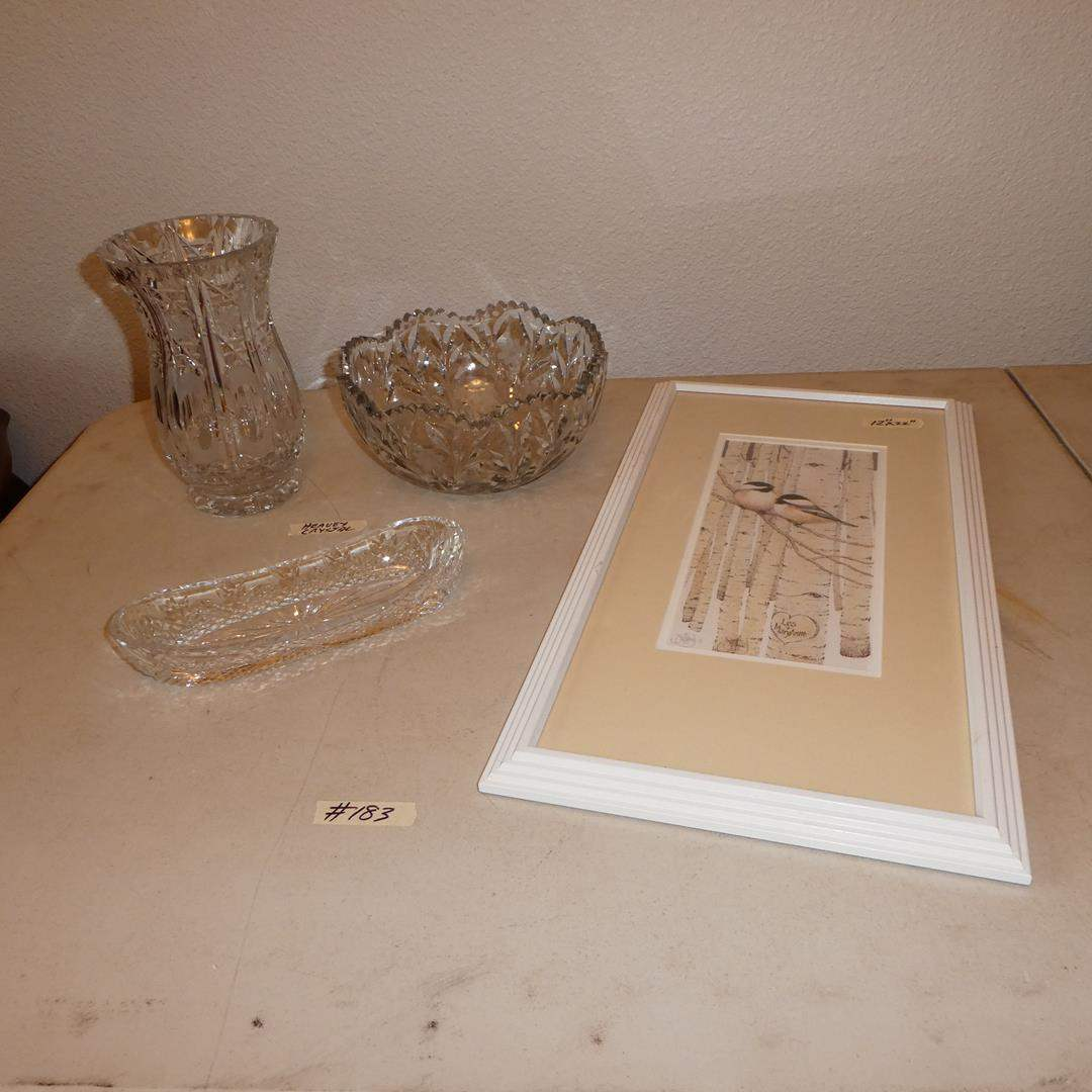 "Lot # 183 - Vintage Heavy Crystal Vase, Bowl, Celery Dish & Framed Print ""Love Birds"" by Scott Kennedy  (main image)"