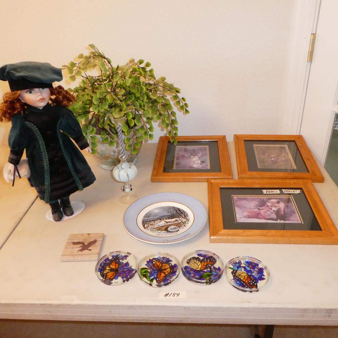 Lot # 184 - Charlotte Porcelain Doll, Blown Art Glass Vase, Coasters & Three Framed Photos by Gary Crandall (main image)