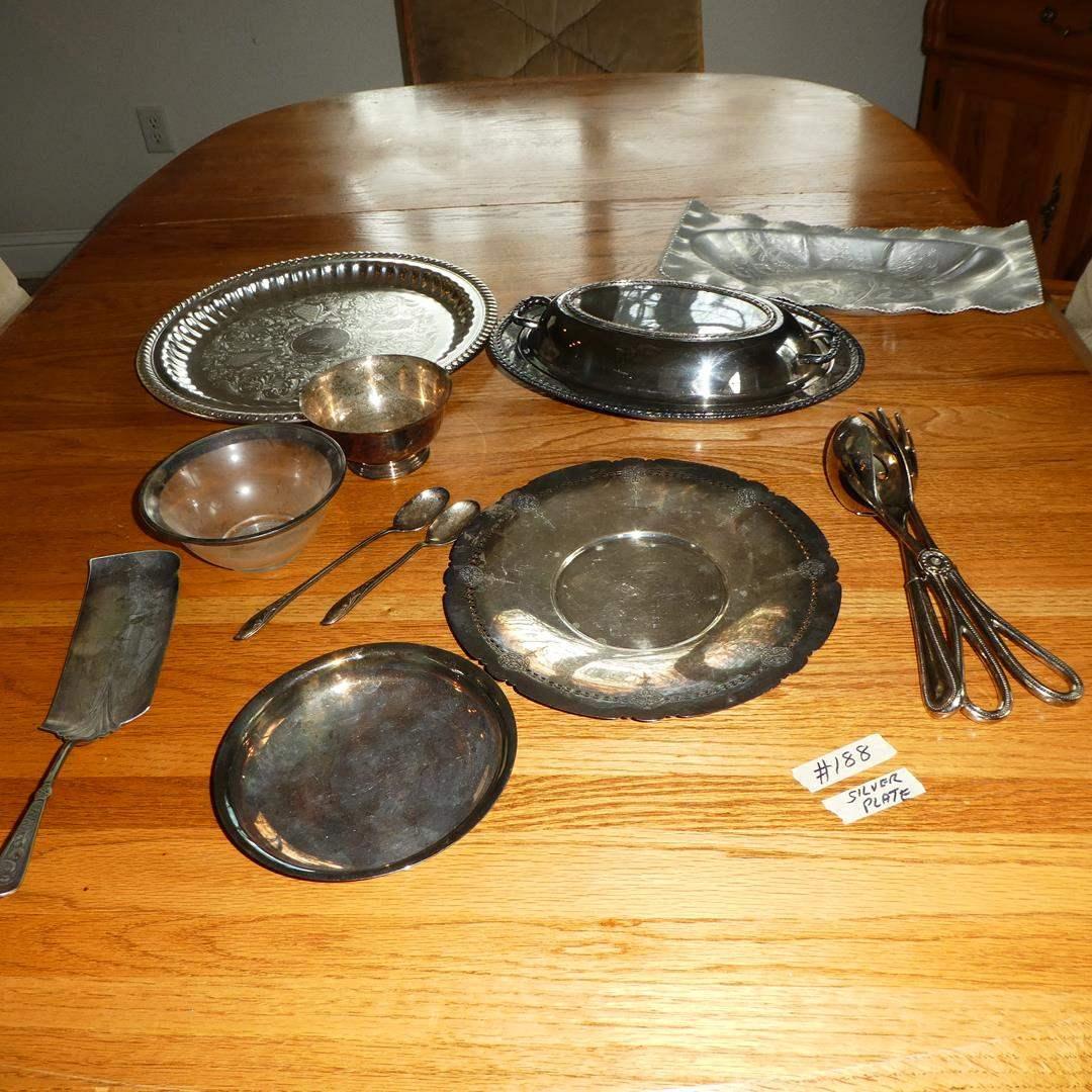 Lot # 188 - Silver Plate & Aluminum Serving Pieces (main image)