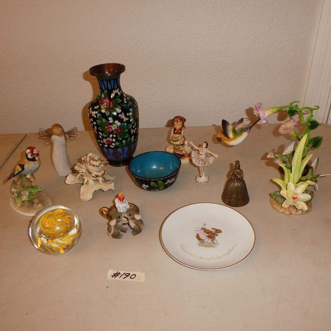 Lot # 190 - Glass Paperweight, Figurines, Lenox Rose, Cloisonne Brass Vase, Bowl, Hummel  Figurine & Willow Tree Angel (main image)