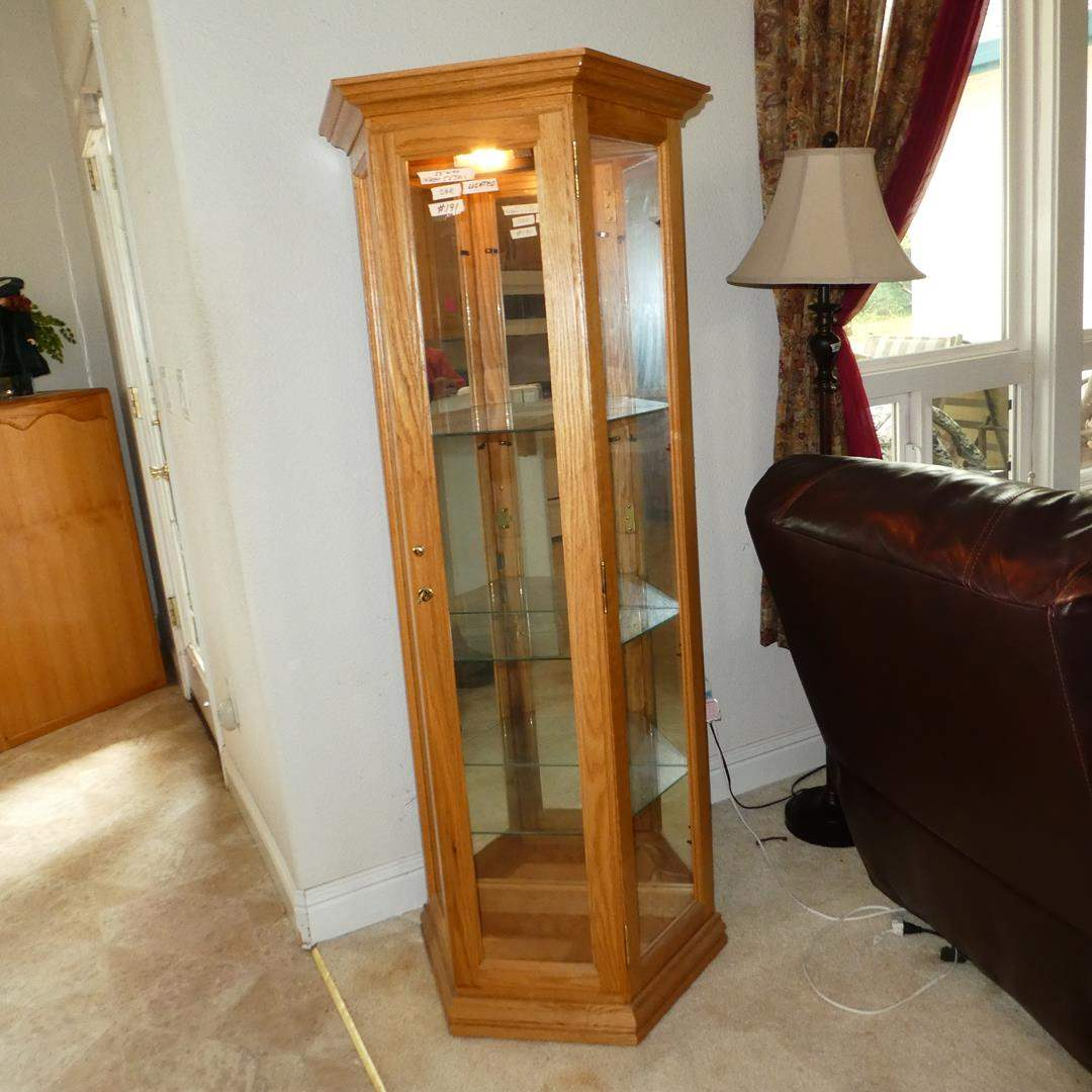 Lot # 191 - Lighted Oak Curio Display Cabinet Mirrored Back & Glass Door (main image)