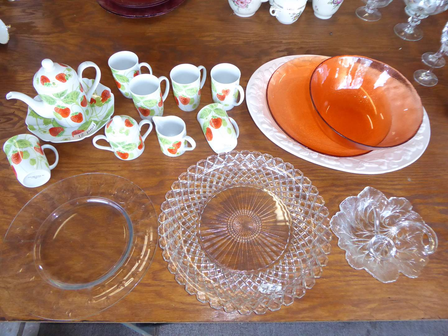 Lot # 2 - Fitz & Floyd Strawberry Dishes  Red & Clear Glass Serving Plates  (main image)