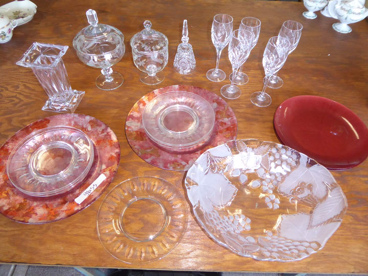 Lot # 4 - Etched Candy Dishes, Stemmed Glasses & Glass Chargers  (main image)