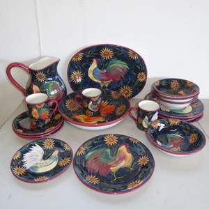 Auction Thumbnail for: Lot # 6 - Susan Winget Certified International Rooster Dinnerware