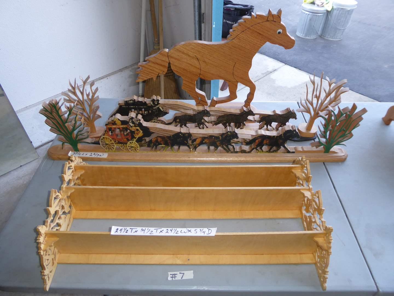 Lot # 7 - Wooden Horse Decor & Wall Shelf  (main image)