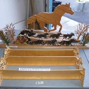 Auction Thumbnail for: Lot # 7 - Wooden Horse Decor & Wall Shelf