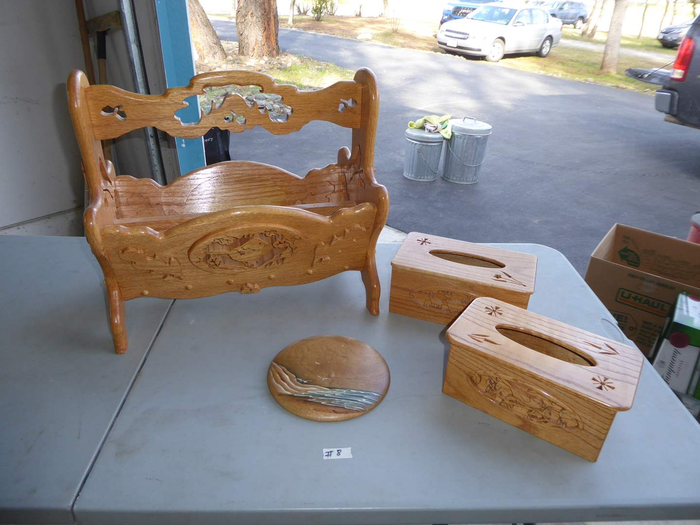 Lot # 8 - Wooden Magazine Holder, Tissue Boxes & Myrtle Wood Wall Hanging  (main image)