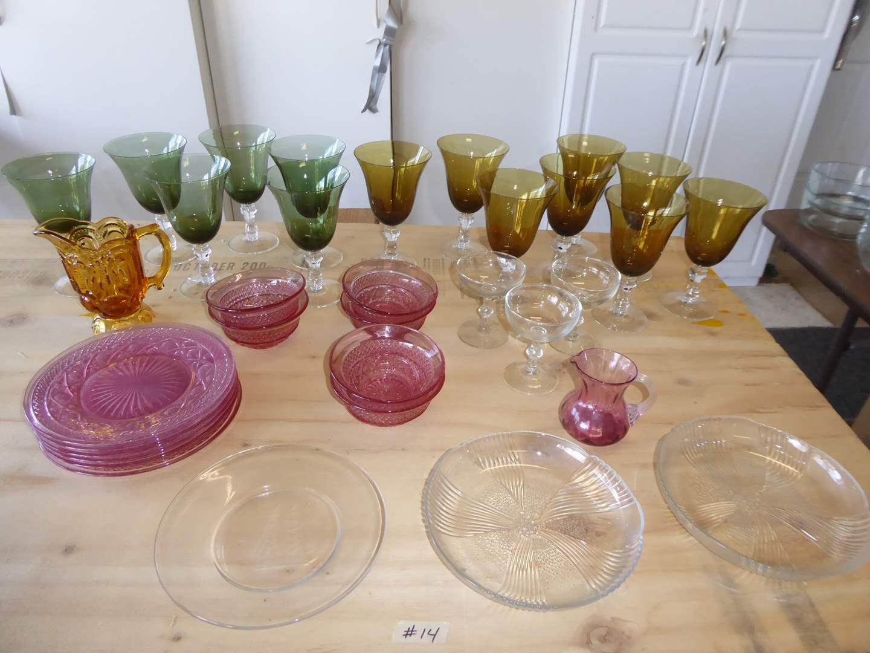 Lot # 14 - Colorful Glass Stemware & Pink Glass  (main image)