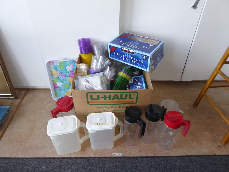 Lot # 16 - Plastic Pitchers, Picnic Supplies & Napkins  (main image)