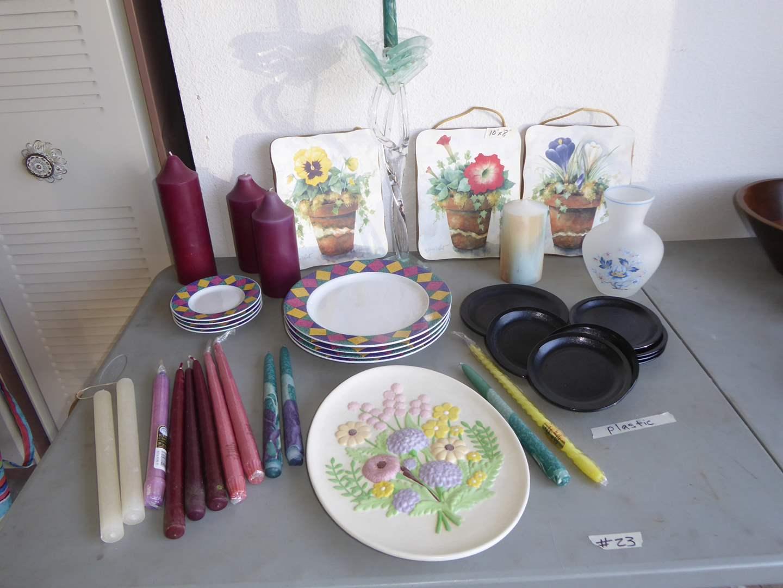 Lot # 23 - Signature Stoneware Plates, Candles & Home Decor  (main image)