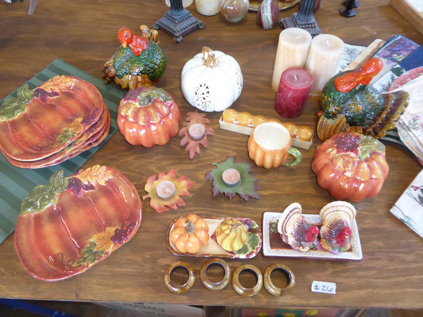Lot # 26 - Ceramic Turkeys, Ceramic Pumpkin Plates & Other Fall Decor  (main image)