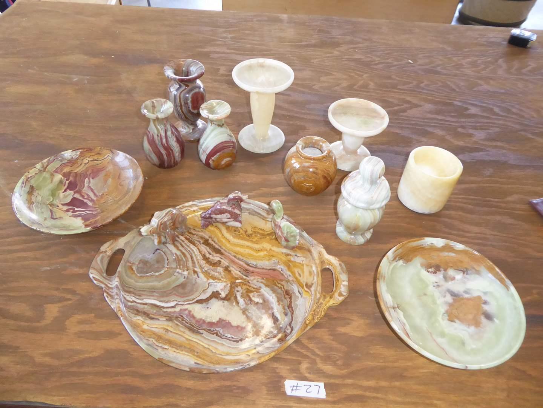Lot # 27 - Onyx Marble Vases & Plates   (main image)