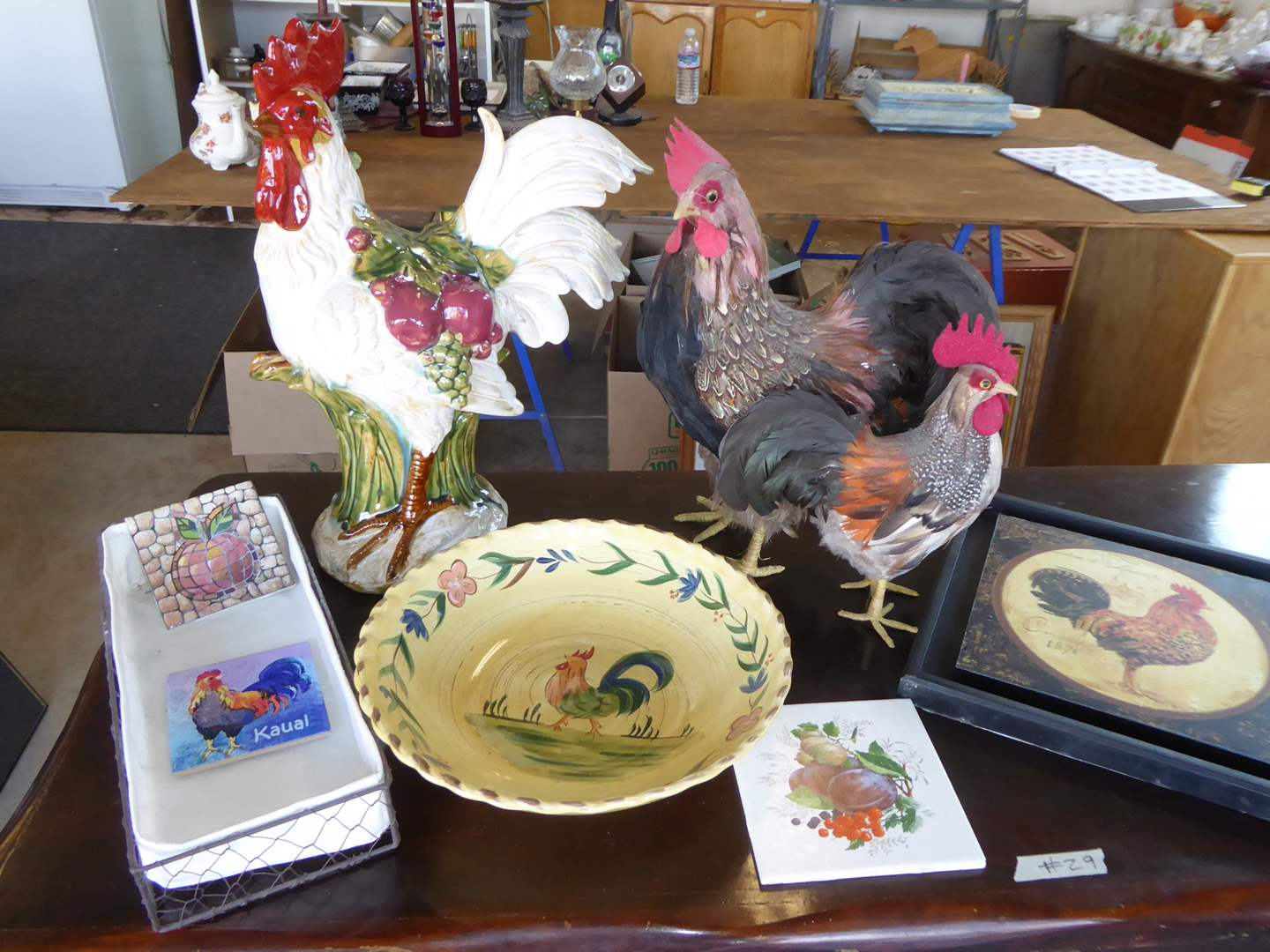 Lot # 29 - Rooster Lot - Ceramic & Feather Roosters, Pasta Bowl & More   (main image)
