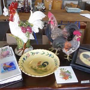 Auction Thumbnail for: Lot # 29 - Rooster Lot - Ceramic & Feather Roosters, Pasta Bowl & More