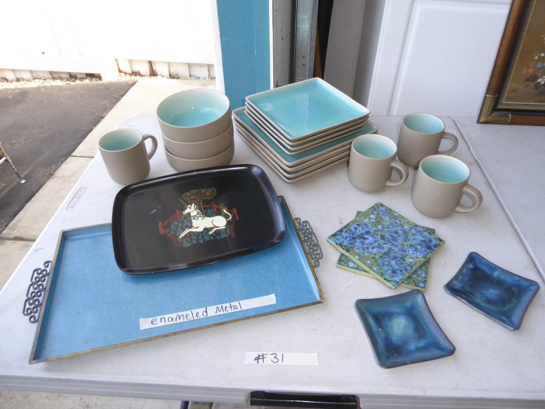 "Lot # 31 - Mid Century ""Moire Glaze"" Tray, Unicorn Couroc Tray & Studio Dishes   (main image)"