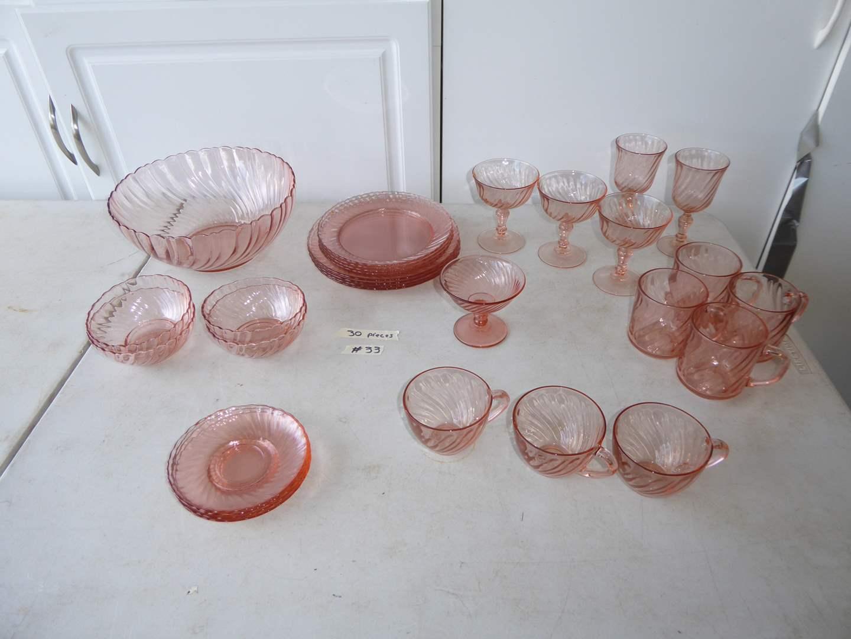 """Lot # 33 - Acrorroc """"Rosaline Pink"""" Swirled Glass (30 Pcs) (main image)"""