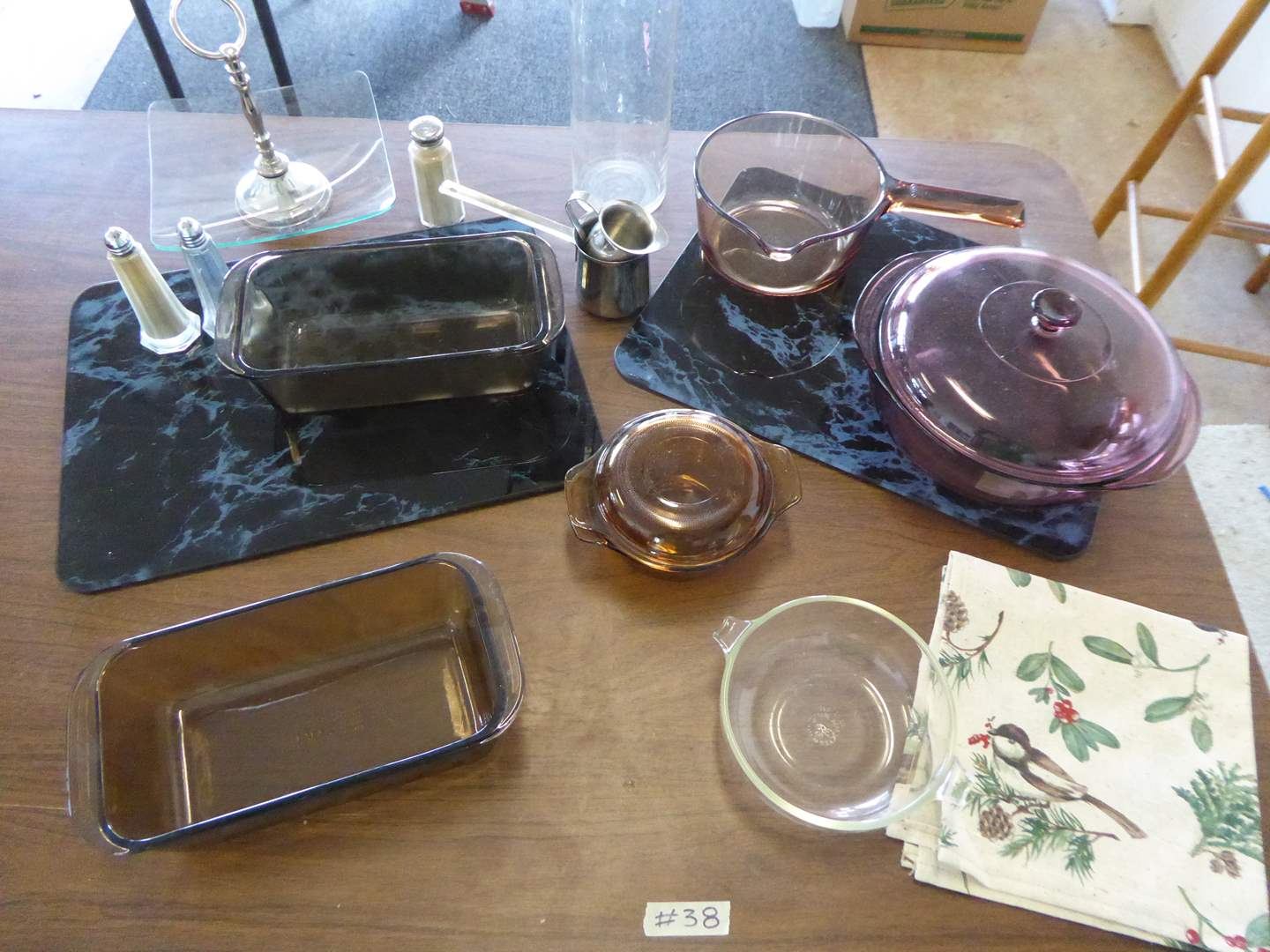 Lot # 38 - Marbled Tempered Glass Cutting Boards, Pyrex & Corning Ware Glass Baking Dishes   (main image)