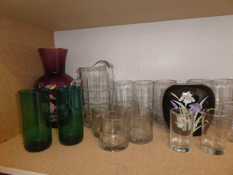 Lot # 41 - Glass Pitcher, Tea Glasses & Vases (main image)