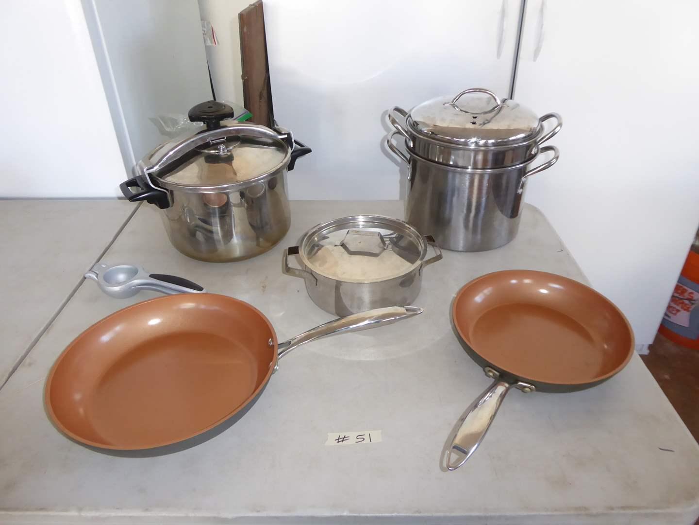 Lot # 51 - Magefesa Pressure Cooker, Farberware Double Broiler Pot & Gotham Non-Stick Pans  (main image)