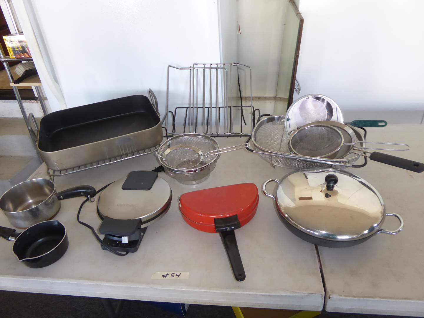 Lot # 54 - Waffle Iron, Miscellaneous Pots & Pans & Strainers  (main image)