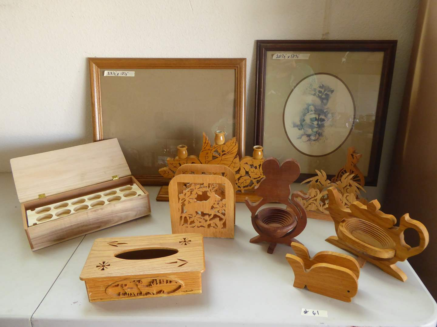 Lot # 61 - Framed & Matted Paul Whitney Hunter Print & Carved Wooden Decor  (main image)