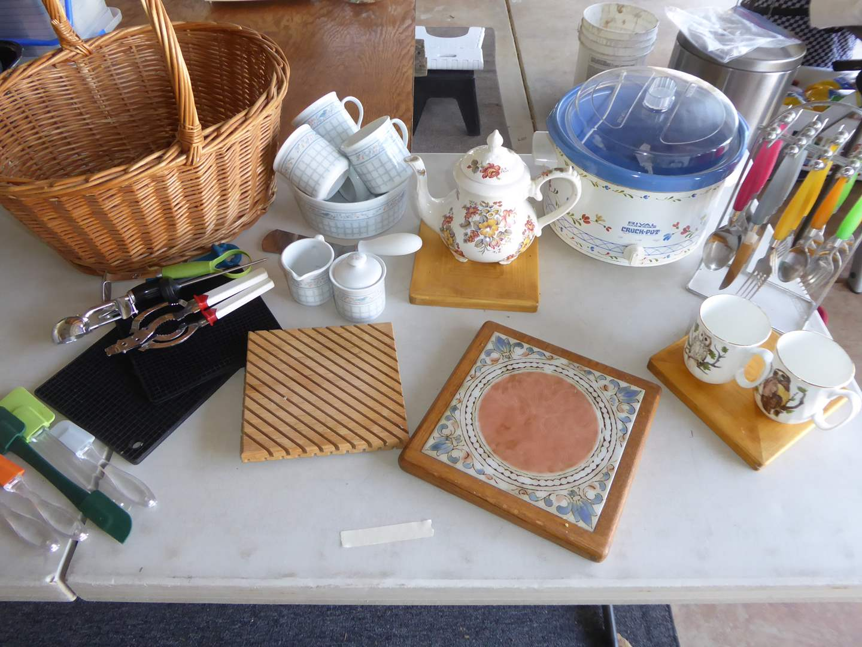 Lot # 67 - Kitchen Lot - Crock Pot, Tea Cups & Flatware  (main image)
