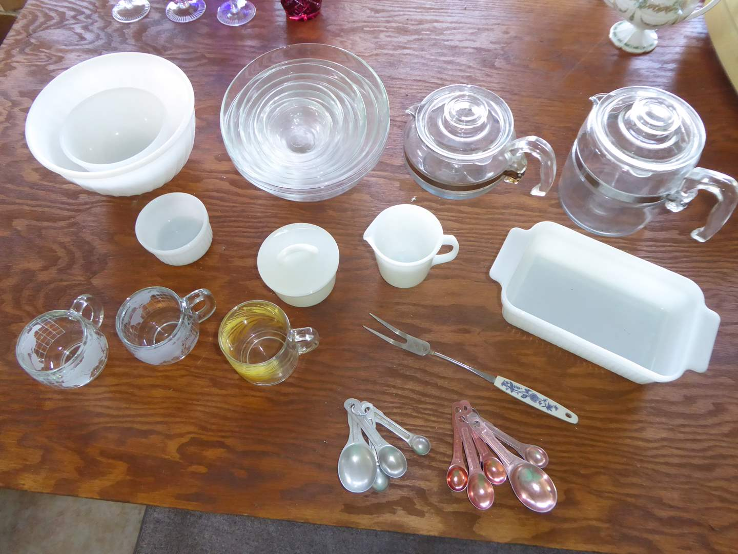 Lot # 69 - Pyrex Percolators, Duralex Glass Bowls & Fire-King (main image)
