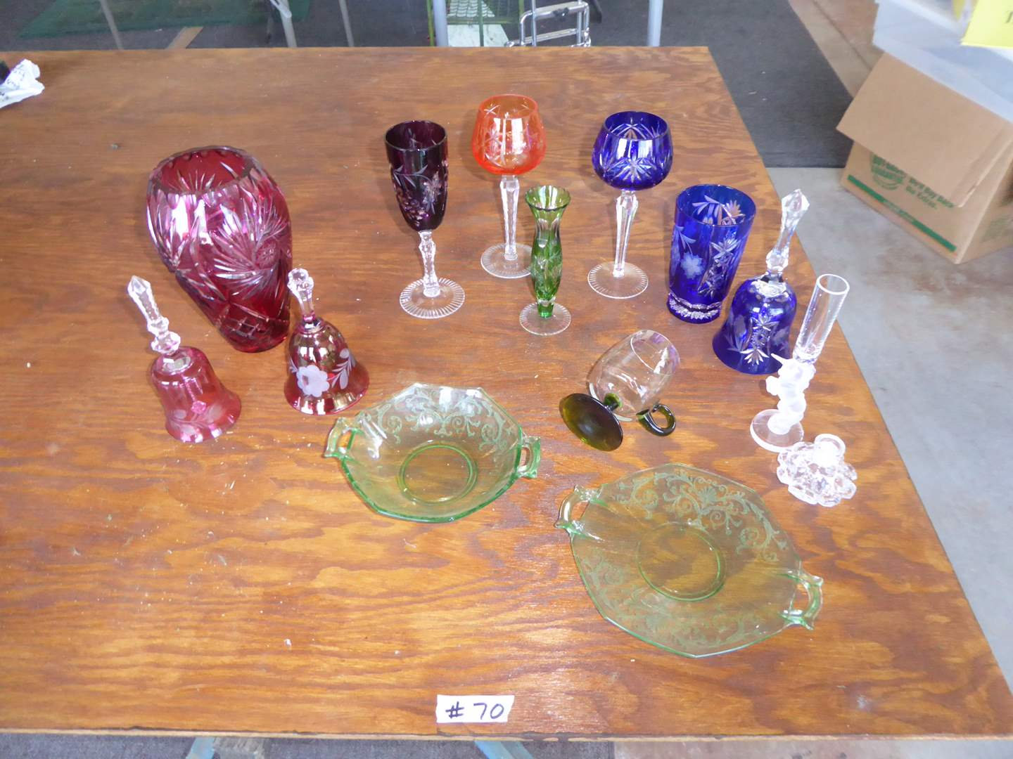 Lot # 70 - Vintage Etched Bohemian Glass & Other Colored Glass  (main image)
