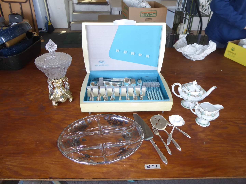 "Lot # 71 - Rogers Bro's 1957 ""Springtime"" Flatware (In Box) RS Prussia Tea Pot & Silver Overlay Dish  (main image)"