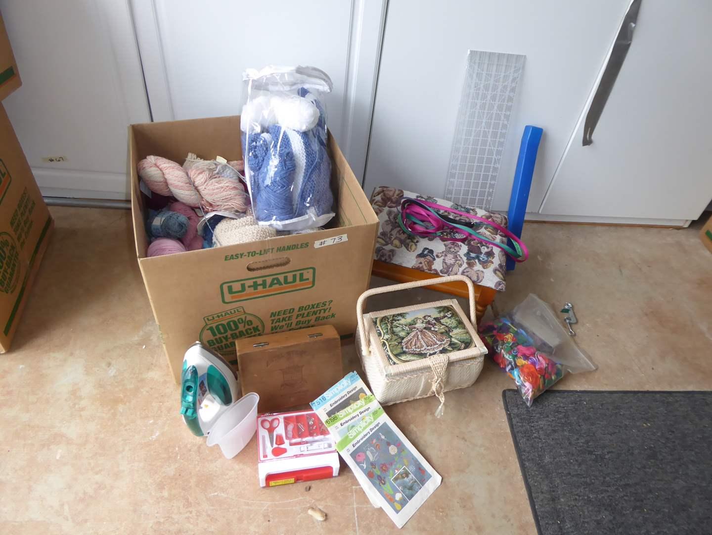 Lot # 73 - Clothing Iron, Yarn & Sewing Stuff  (main image)