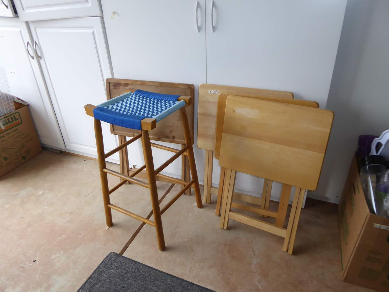 Lot # 74 - Bar Stool W/Woven Seat & TV Trays  (main image)