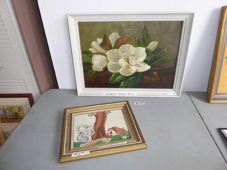 Lot # 77 - Framed Floral Art & Framed Original Acrylic  (main image)