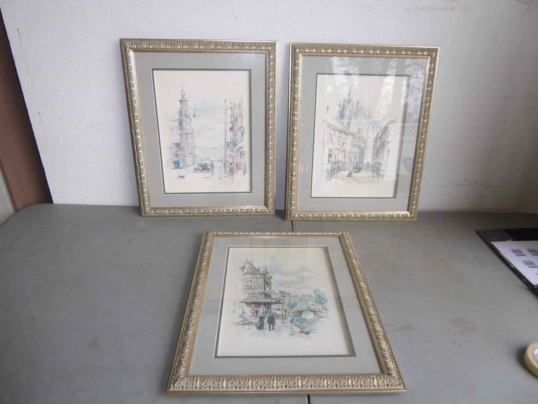 Lot # 82 - Three Framed Prints Behind Glass (main image)