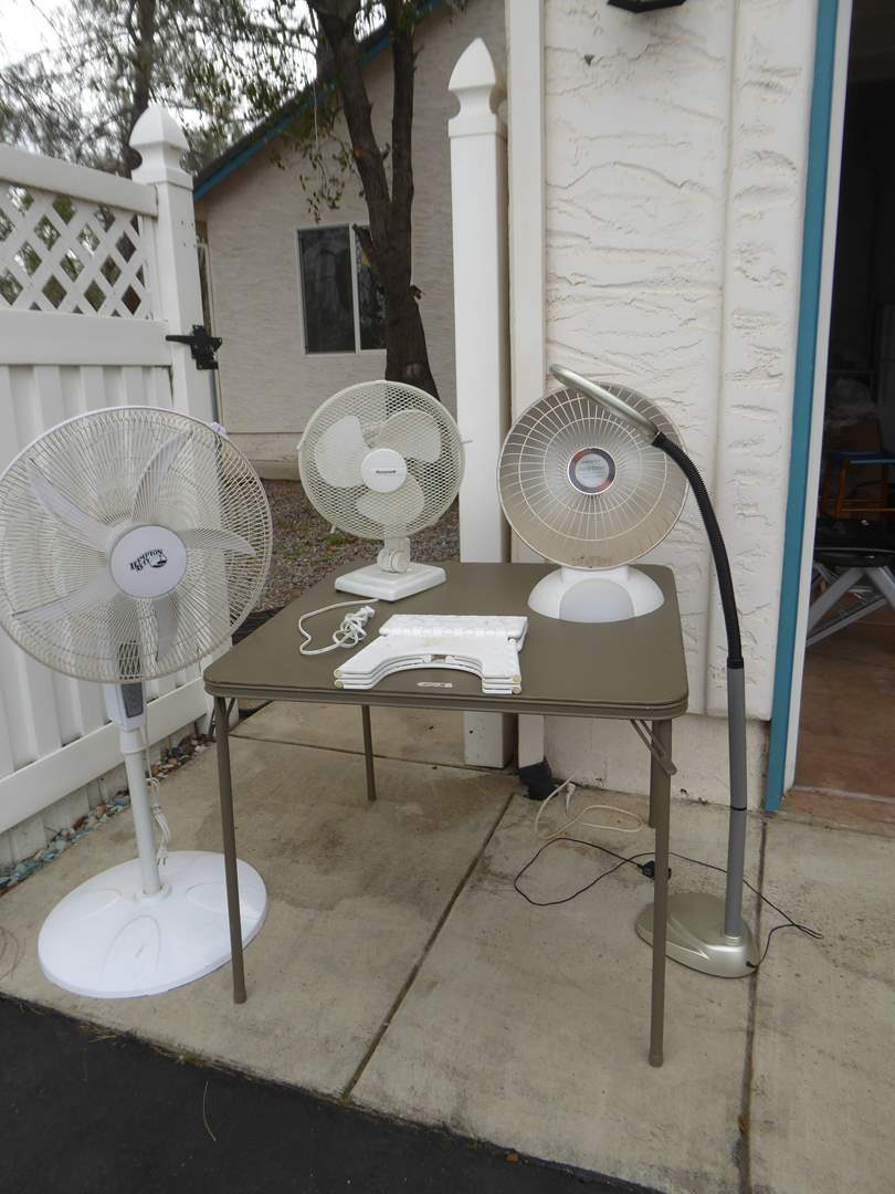 Lot # 88 - Fans, Heater, Lights & Card Table (main image)