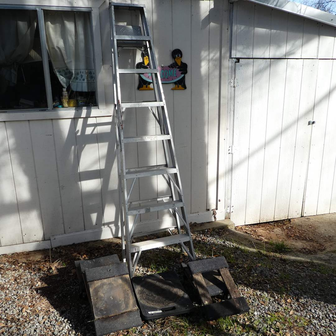 Lot # 304 - 8FT Aluminum Ladder and Six Small Moving Dollies  (main image)