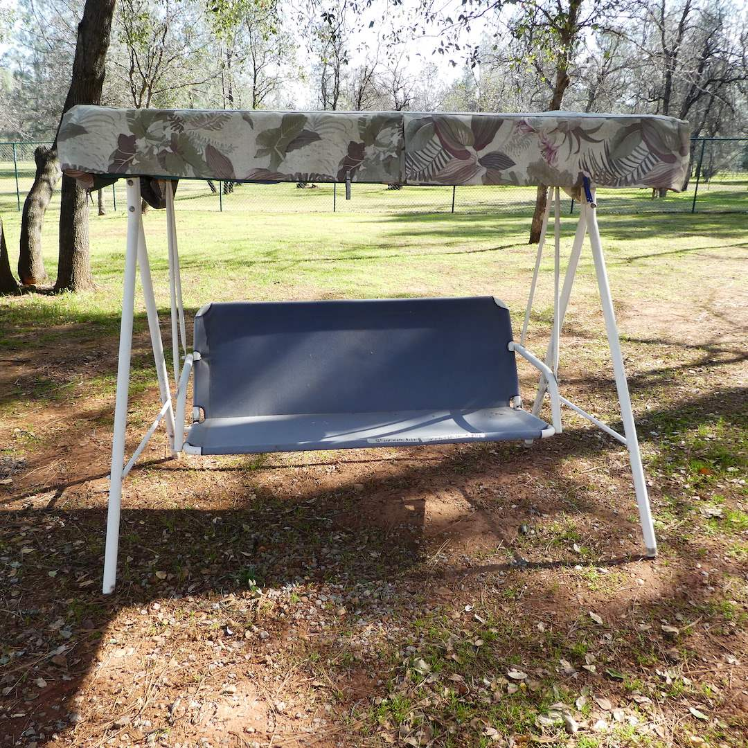 Lot # 313 - Outdoor Swing w/ Canopy (Weathered) (main image)