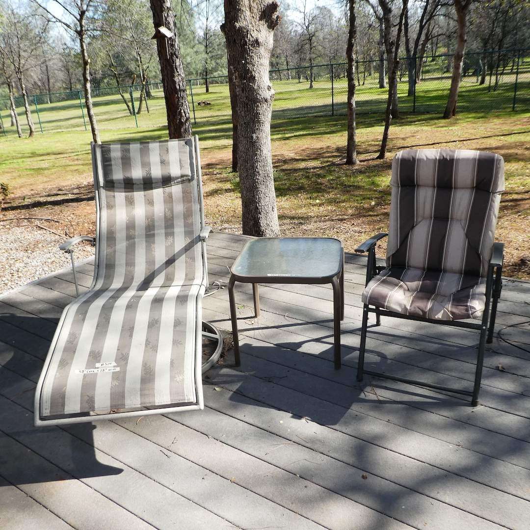 Lot # 314 - Nice Outdoor Lounge Chair, Outdoor Side Table, and Cushioned Folding Chair (main image)