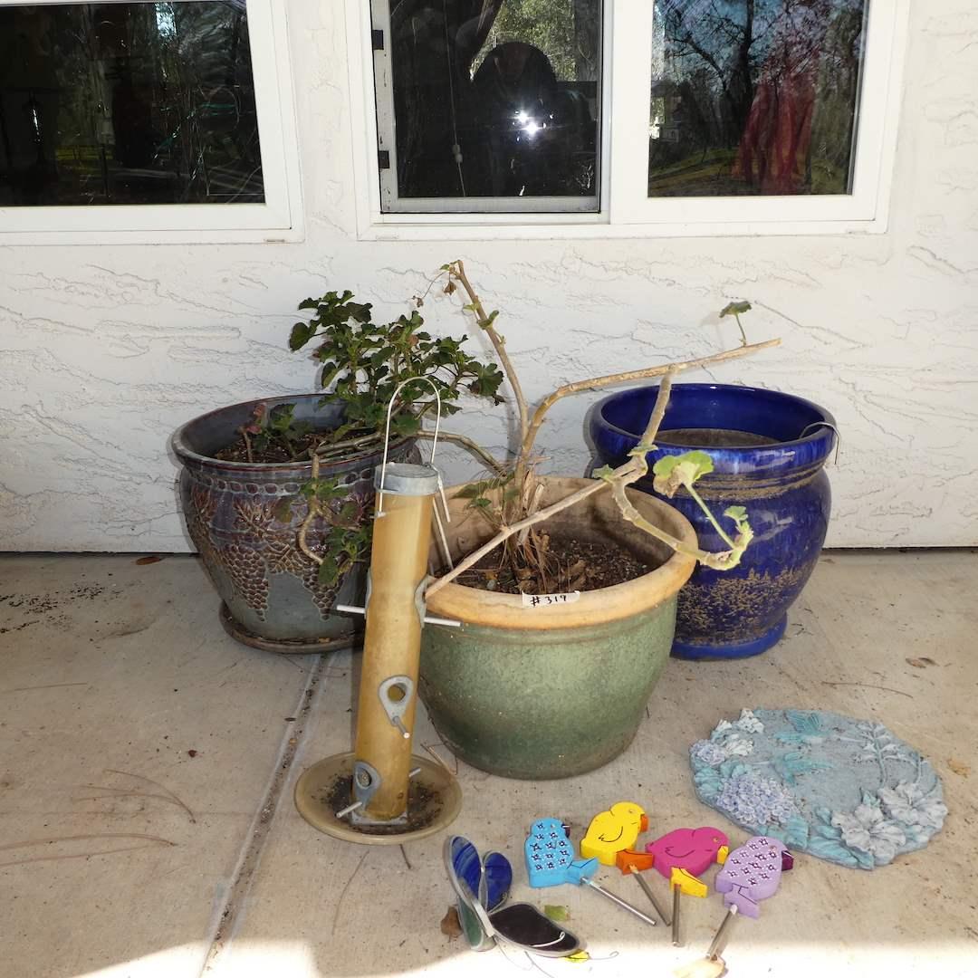 Lot # 319 - Three Ceramic Pots and Garden Art (main image)