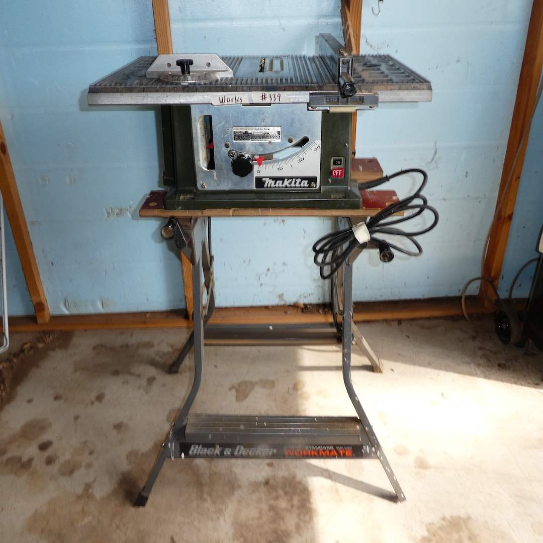 Lot # 339 - Makita Table Saw On a Black & Decker Workmate (Works) (main image)