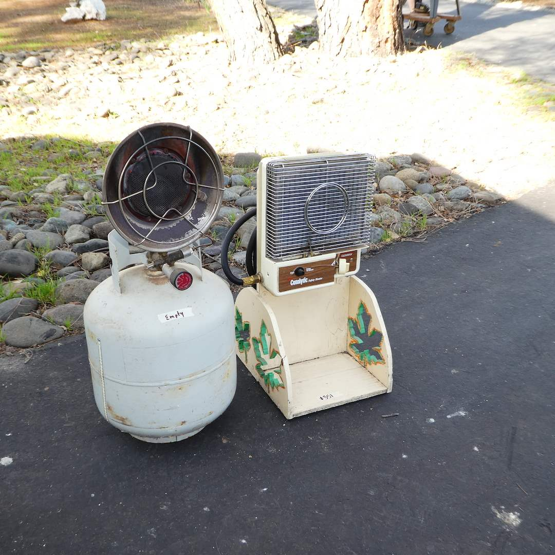 Lot # 351 - Propane Radiant Heater(Empty) and Olympian Catalytic Safety Heater on Homemade Stand  (main image)