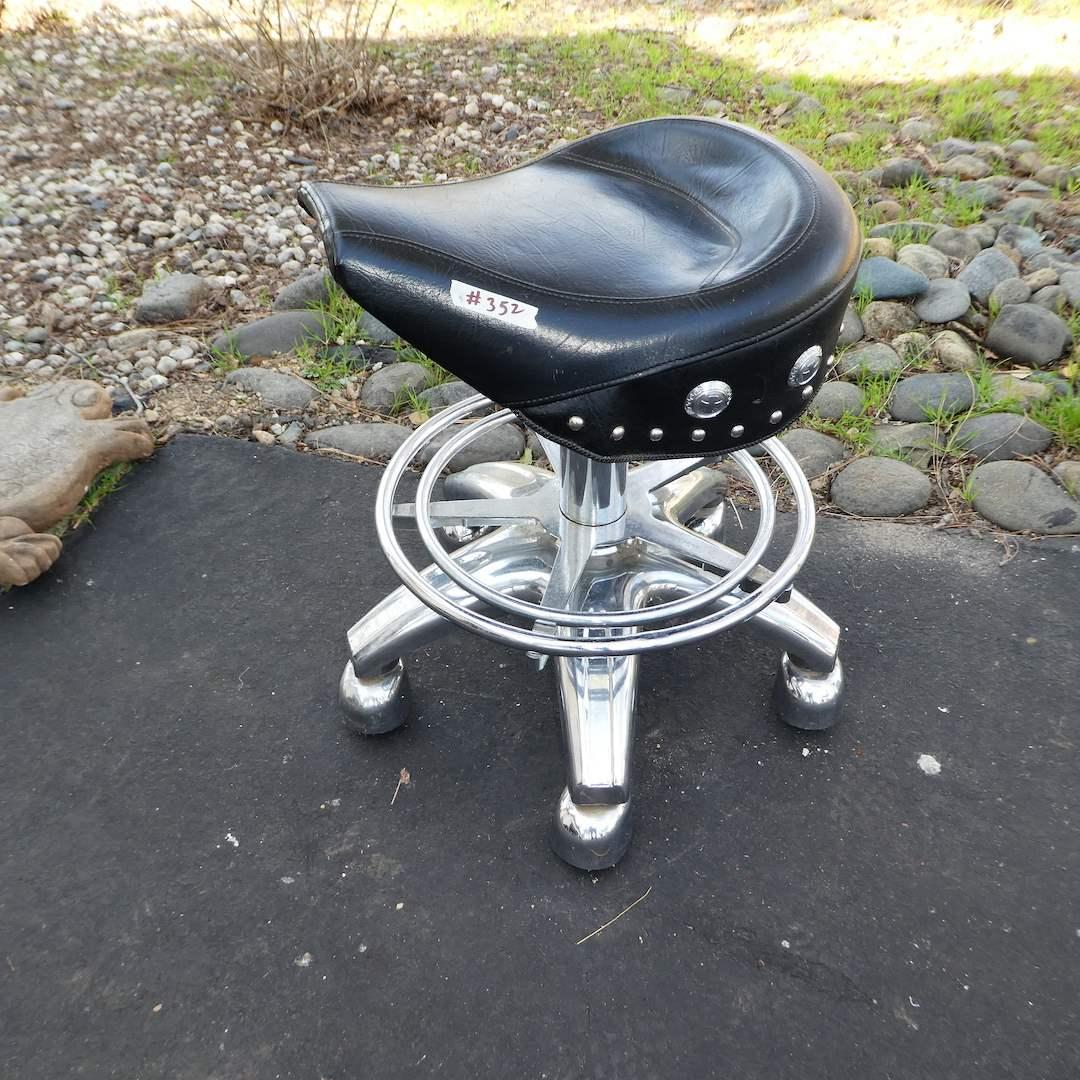 Lot # 352 - Larin Corp. Pneumatic Biker Saddle Bar Stool   (main image)