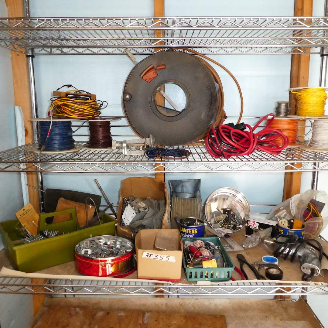 Lot # 355 - Misc. Electrical Supplies, Hardware and Extension Cord w/ Hand Spool (main image)