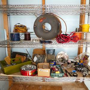 Auction Thumbnail for: Lot # 355 - Misc. Electrical Supplies, Hardware and Extension Cord w/ Hand Spool