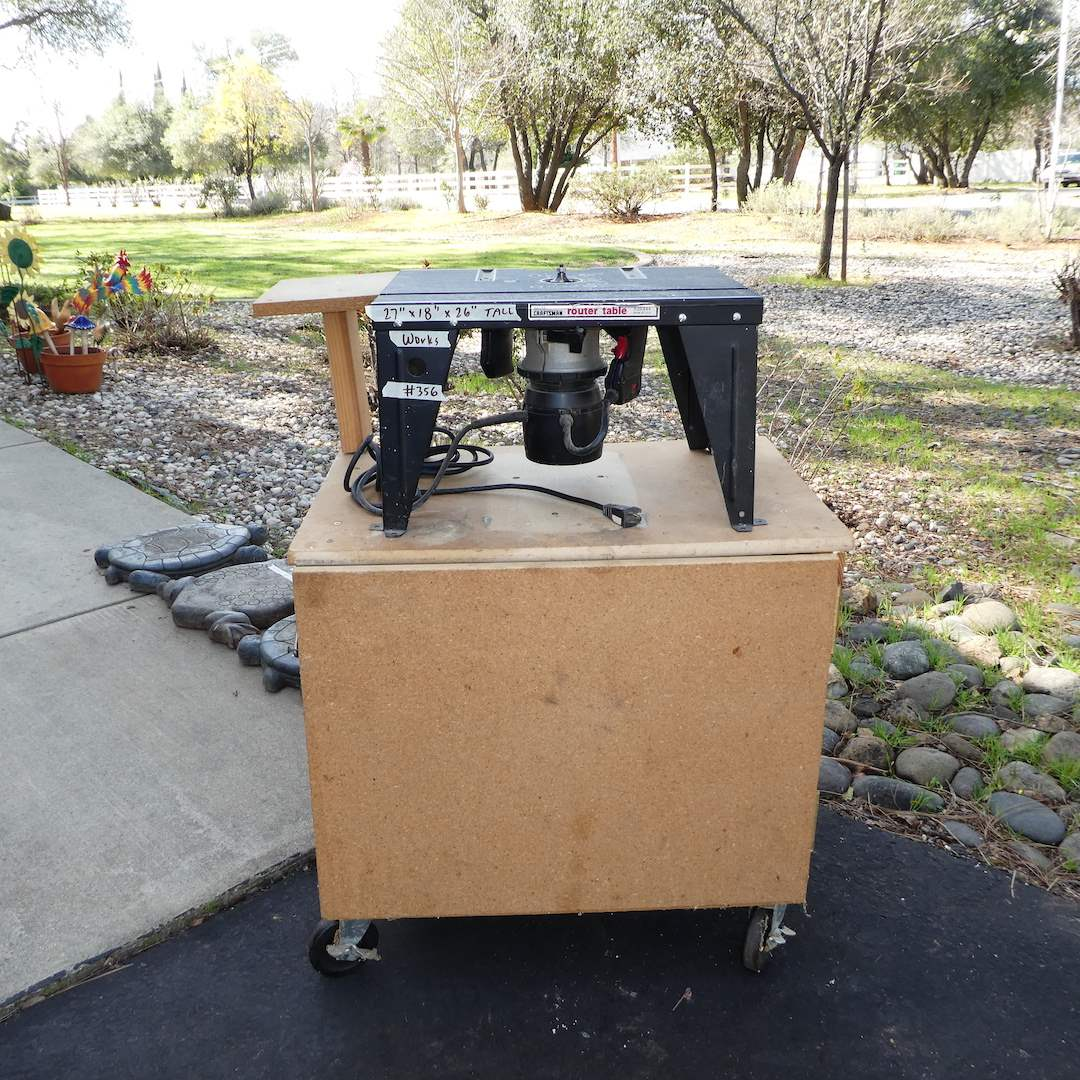 Lot # 356 - Craftsman Router Table (Works) on Nice Homemade Stand on Wheels (main image)