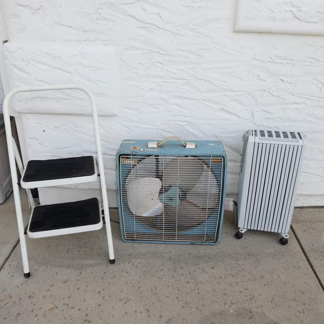 Lot # 359 - Delonghi Electric Heater (Works), Eskimo Shop Fan (Works) and Tricam Folding Step Stool (main image)